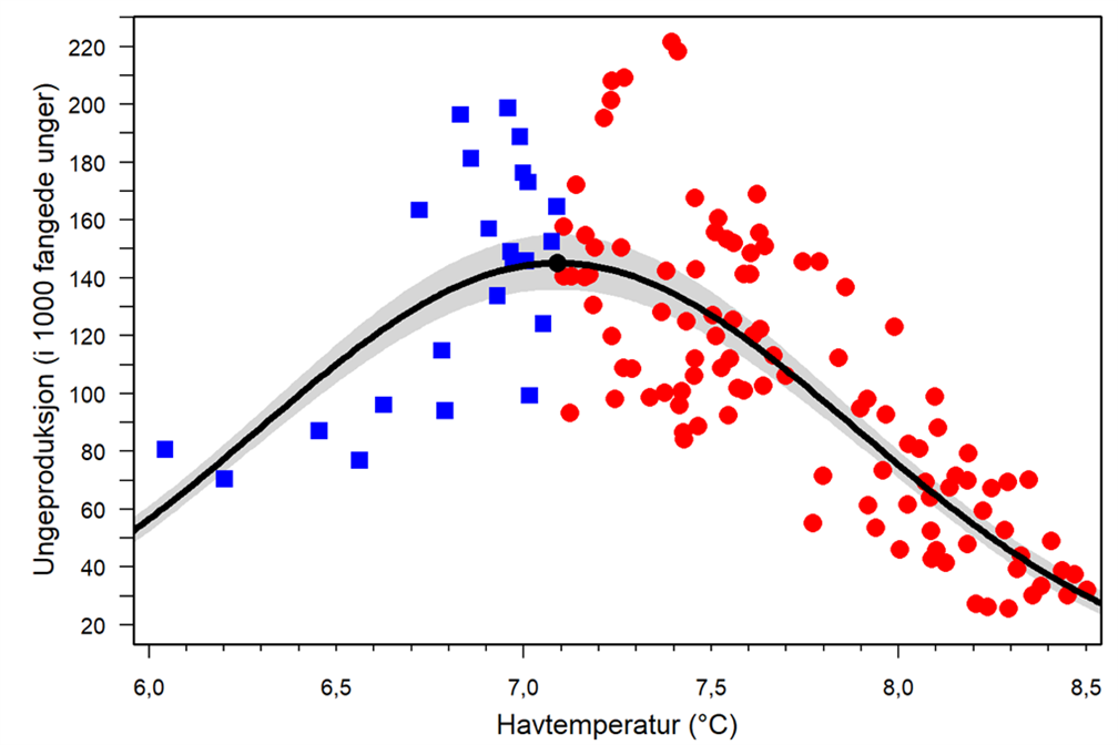 Figure 2: The optimum temperature for puffins in Iceland has been shown to be 7.1°C. Both lower and higher sea temperatures resulted in a decline in offspring production.