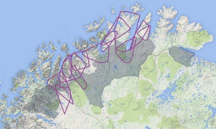 Kartet viser et utvalg årlige leveområder for voksne hunngauper fulgt med GPS-sendere i Troms og Finnmark fra 2007-2013. De grå områdene er gaupeprioriterte områder mens områdene uten farge er prioritert for beite. Kart: Scandlynx/Google